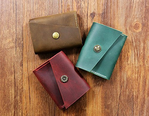 Personalized Vintage distressed leather women men business card holder/business card case organizer/credit card holder wallet -BC0XS