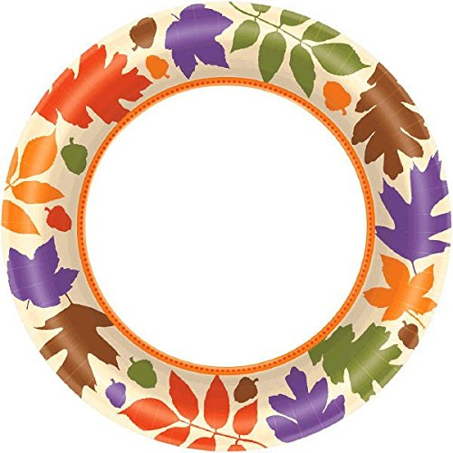 Amscan Autumn Warmth Thanksgiving Party Plates (Pack Of 40), Multicolor by Amscan