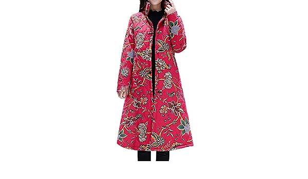 Amazon.com: AOJIAN Women Jacket Long Sleeve Outwear Vintage Folk-Custom Stand Neck Floral Print Button Maxi Coat: Clothing