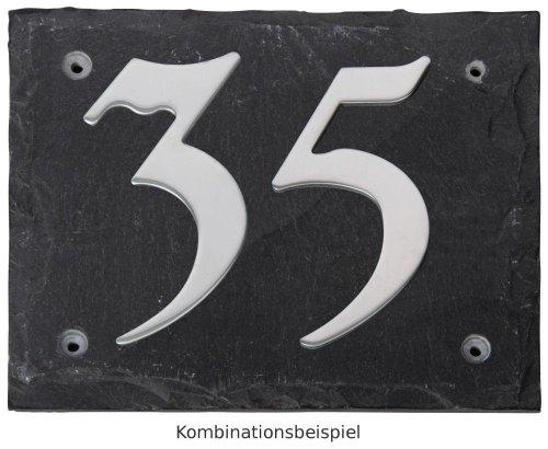 Esschert Design Set: Hausnummer 14 aus Edelstahl auf Schieferplatte (18 cm x 15 cm), Schriftbild Kreide