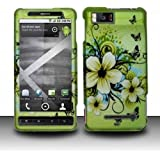 Verizon Motorola Droid X2 Accessory - Blossoming Spring Flower & Butterflies Protective Hard Rubberized Case Cover Design