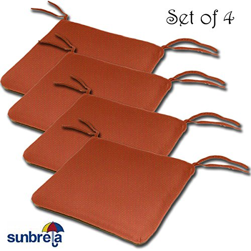 SET OF 4 20W x 19Dx 2.5H Sunbrella Indoor/Outdoor Knife Edge style seat pad cushion in Brick by Comfort Classics Inc. Made in USA (Patio Brick Covered)