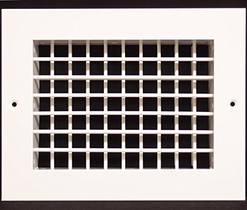 """10""""w X 4""""h Aluminum Double Deflection Adjustable Air Supply HVAC Diffuser - Full Control Vertical/Horizontal Airflow Direction - Vent Duct Cover [Outer Dimensions: 11.6""""w X 5.6""""h]"""