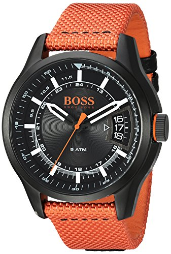 HUGO BOSS Men's 'HONG KONG SPORT' Quartz Resin and Nylon Casual Watch, Color:Orange (Model: 1550001)