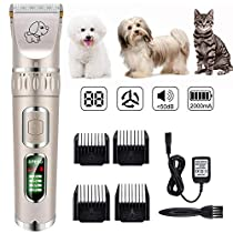 Dog Grooming Kit - YOUTHINK Dog Clippers Professional Electric Clippers Set Wireless Cat Trimmer Low Noise Shaver for Pets/Dog/Cat and More Animals Haircut