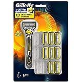 Gillette Fusion ProShield Lamette di Ricambio per Rasoio, 9 Lamette e 1 Manico Gratis