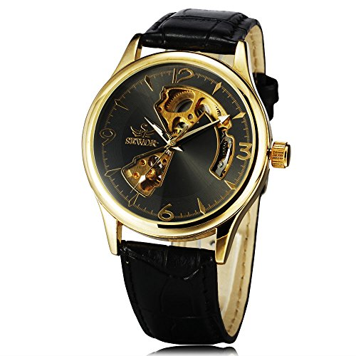 SEWOR Brand Retro Luxury Hollow Leather Watch Strap Men's Clock Automatic Mechanical Auto Watch (Gold(Black)) ()