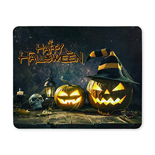 InterestPrint Happy Halloween Decoration Pumpkin Jack Lantern with Burning Candles Rectangle Non Slip Rubber Comfortable Computer Mouse Pad Gaming Mousepad Mat for Office Home Woman Man Employee Boss -