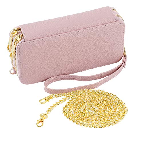 HAWEE Wristlet Clutch Wallet for Women Shoulder Bag with Chain Strap Cell Phone Purse, Petals Pink ()