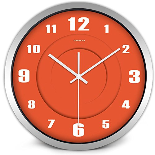 icking Solid Round Orange Wall Clock Glass Cover Metal Frame(12inch, Silver) ()