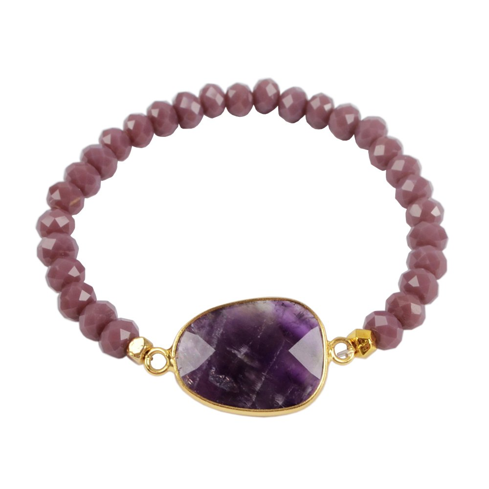 JAB 1Pcs 6mm Glass Crystal Bead Charm Bracelet with Gold Plated Natural Amethyst Faceted Charm