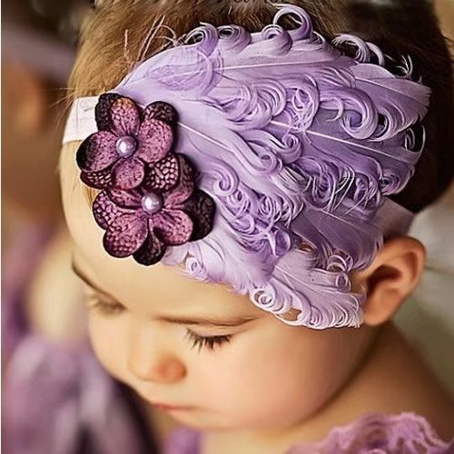 Newborn Feather Headband for Photo Props, Glitter Flower Butterfly Full Hair Decorations for Baby Girls and (Kids Fancy Dress Next Day Delivery)