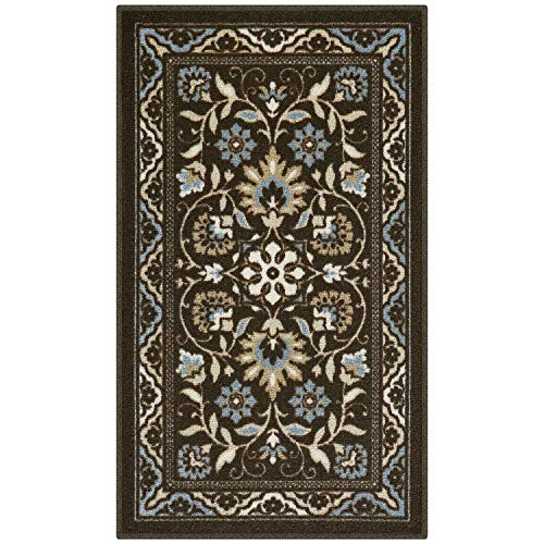 Maples Rugs Kitchen Rug - Florence 1'8 x 2'10 Non Skid Washable Throw Rugs [Made in USA] for Entryway and Bedroom, Coffee Brown