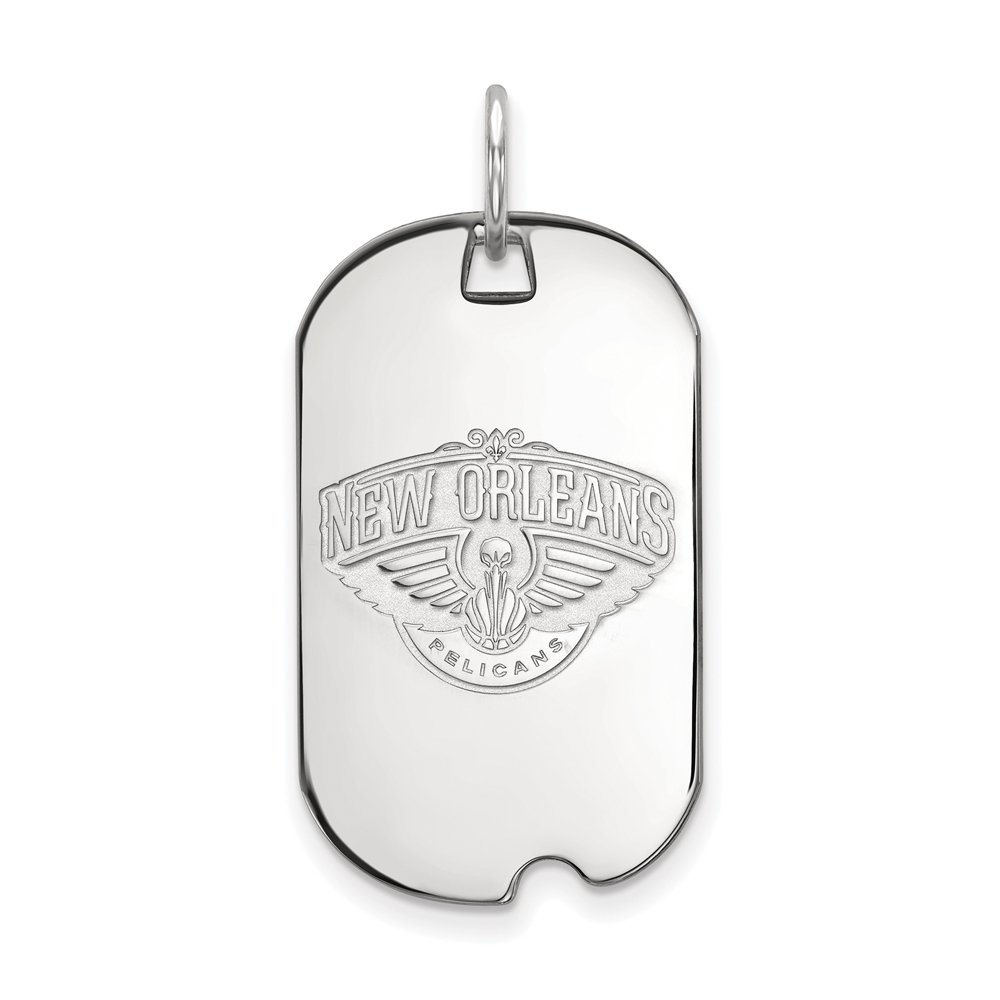 LogoArt NBA New Orleans Pelicans Small Dog Tag Pendant in Rhodium Plated Sterling Silver
