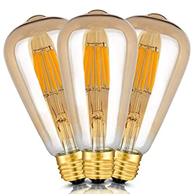 CRLight 8W LED Filament Bulb E26 Medium Base, Vintage Edison Style ST21(ST64) Antique Shape, 2700K / 3200K / 4000K / 6000K, Dimmable / Non-dimmable, 1/3 Pack