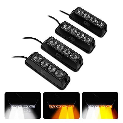 PME 4-LED Waterproof Emergency Beacon Flash Caution White / Amber Strobe Light Bar for Car SUV Pickup Truck Jeep 16 Patterns (4PACK)