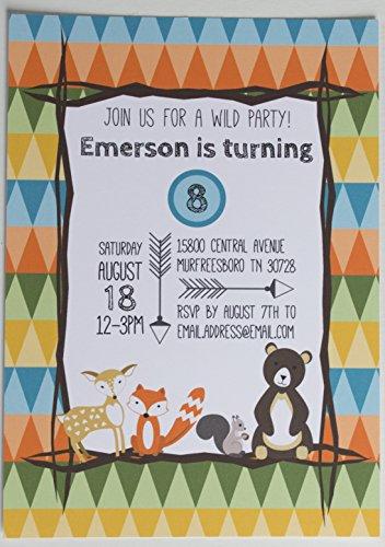 Woodland Animal Birthday Party Invitations - 10 custom printed invites