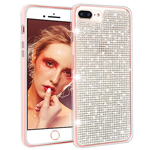 PROLOSO Case Compatible for iPhone 8 Plus/iPhone 7 Plus Case Soft Gel TPU Cover with Handmade 3D Glittering Bling Crystal Shiny Rhinestone Diamond Sparkly for Girls, Clear ()
