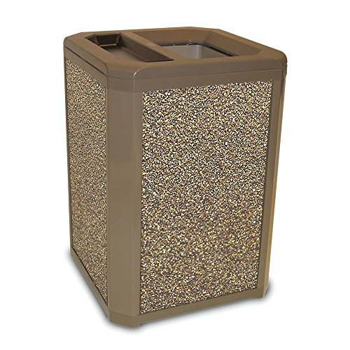 Rubbermaid Landmark Series 35 gal Driftwood Frame with River Rock Aggregate Panels Trash Receptacle with Ash/Trash Top - 26
