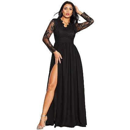 0a2dfbfd01 Amazon.com: 2019 Women Clothing,Ladies Girls Deep V-Neck Lace Evening Party  Ball Prom Wedding Long Dress (XL, Black): Electronics