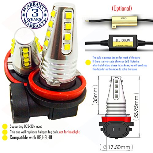Wiseshine H11 red led fog light bulb design DC9-30v 3 years quality...
