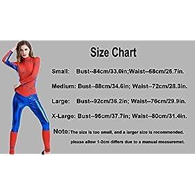 - 51K2L Heh L - XSHUN Women Faux Leather Spiderman Costumes Cosplay Spiderman Jumpsuit Catsuit