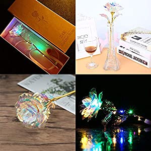 DIRANCE for Mother's Day Gift -Colorful Luminous LED Gold foil Roses, Color Change Artificial LED Flower, Gift Box Packaging 6