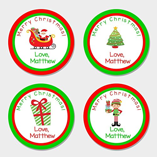 40 Round Personalized Kid's Christmas Gift Stickers - Boy Themed Christmas Gift Tags - Christmas Stickers Personalized