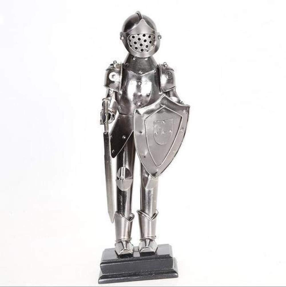 ZTTDDP Escultura Hecha a Mano de Hierro Forjado, Adornos de Manualidades, Modelos de Soldado de Escudo, Samurai