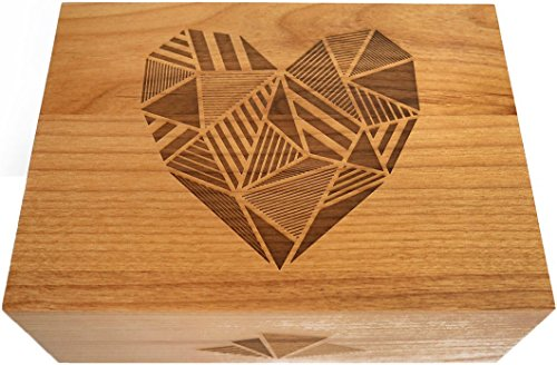- Patchwork Heart Laser Cut Wood Keepsake Box (Wedding Gift/Baby Shower Gift/Heirloom/Decorative/Handmade)