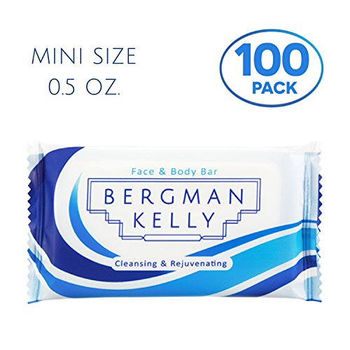 BERGMAN KELLY Travel Soap Bars (0.5 Oz, 100 Pack), Travel Size Luxury Bulk Hotel Bar Soap; Mini Individually Wrapped Soap Hotel Toiletries in Travel Sizes for Airbnb, Motel, Guest Bathroom