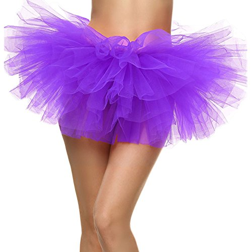 ThunderCloud Women's Multi-Colored/Solid Colored Ballet Tutu Skirt,Purple -
