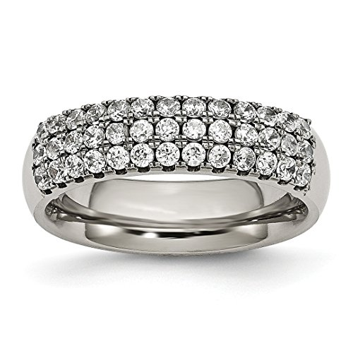 ICE CARATS Titanium Multi Row Cubic Zirconia Cz Band Ring Size 8.00 Fashion Jewelry For Women Gift Set ()