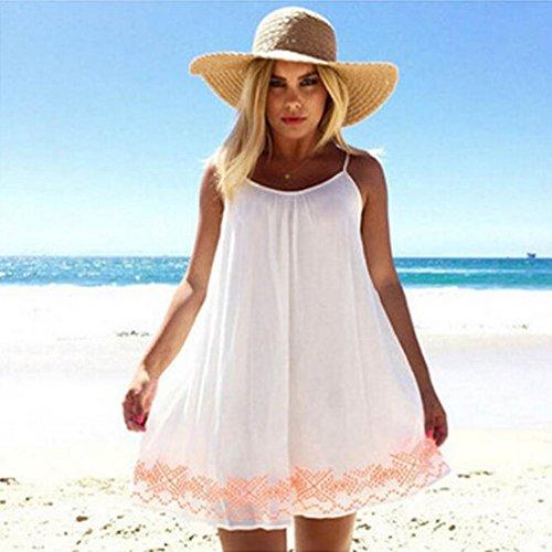 Vestido De Mujer, Xinan Backless Verano Corto BOHO Fiesta De Noche Beach Mini Vestido Sundress Blanco