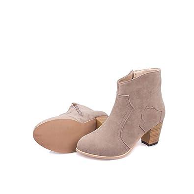 Botas de Tobillo para Mujer Zapatos cálidos de Invierno Cómodos Tacones Altos Cuadrados Botines de Nieve: Amazon.es: Zapatos y complementos