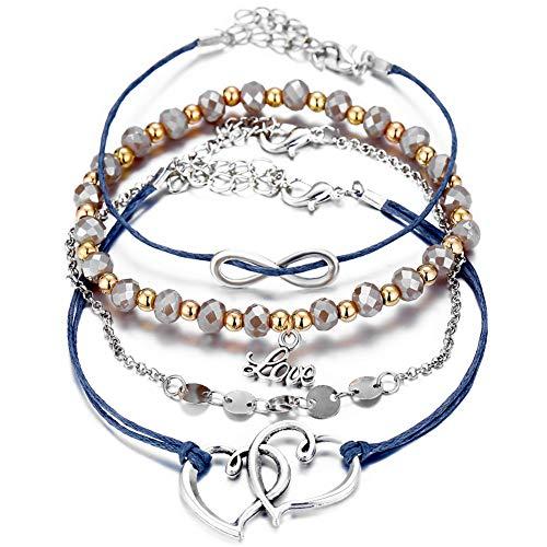Letter Disc 8 Shaped Love Heart Bracelet Set Vintage Braided Rope Beaded Double Heart Link Bracelet for Women Girls Boho Jewelry 4 Pcs/Set