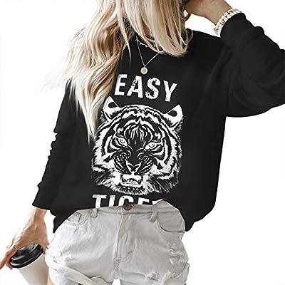 RUUHEE Women Long Sleeve Sweatshirt Tiger Printed Cute Casual Pullover Shirt