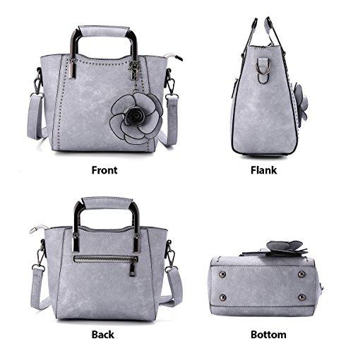 Leather Top PU Handle Mini Bag Black Handbag Grey Crossbody Rose Bags JOSEKO Retro Women rXTgaXWq