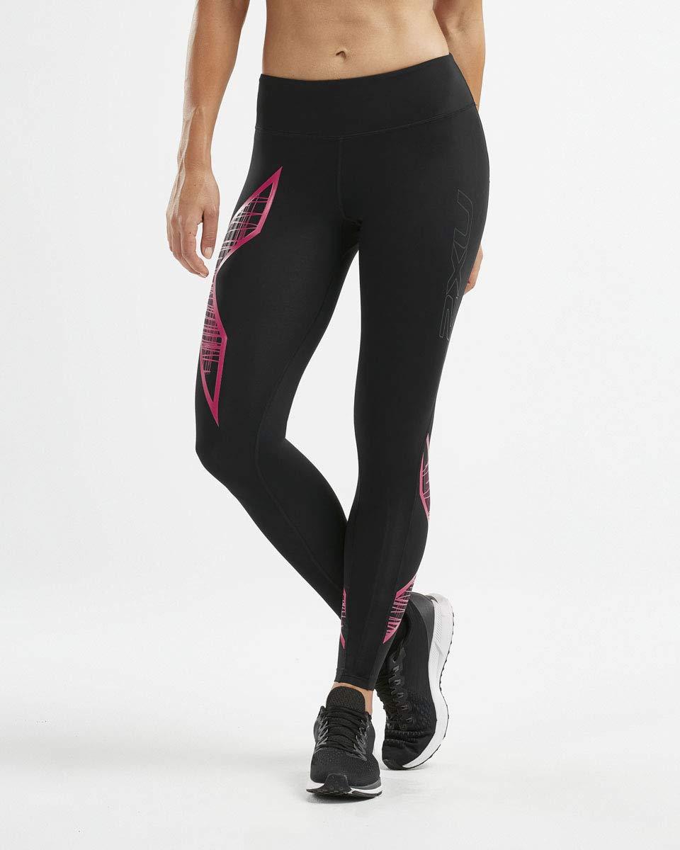 2XU Womens Mid-Rise Compression Tights, Black/Scribe Pink, XL-R by 2XU