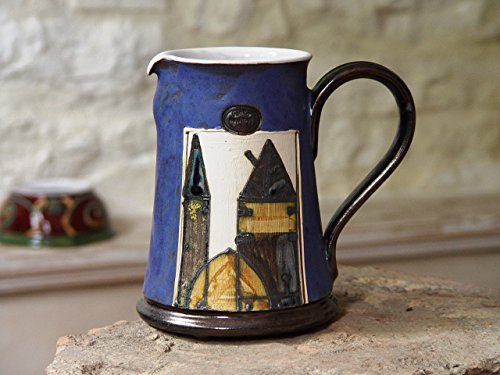 Blue Ceramic Water Pitcher - Handmade and Hand Painted Pottery - Earthen Jug - Large Clay Ewer - Table Decor - Danko Artistic Pottery (Painted Pottery Vase)