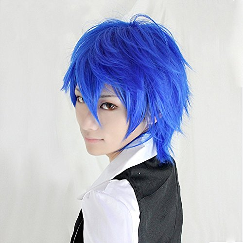 Anogol Blue Short Cosplay Wig Layered Straight Party (Steven Universe Lapis Lazuli Costume)