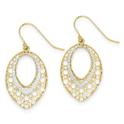 14k Yellow Gold Filigree Oval Drop Dangle Chandelier Earrings Fine Jewelry For Women Gift Set ()