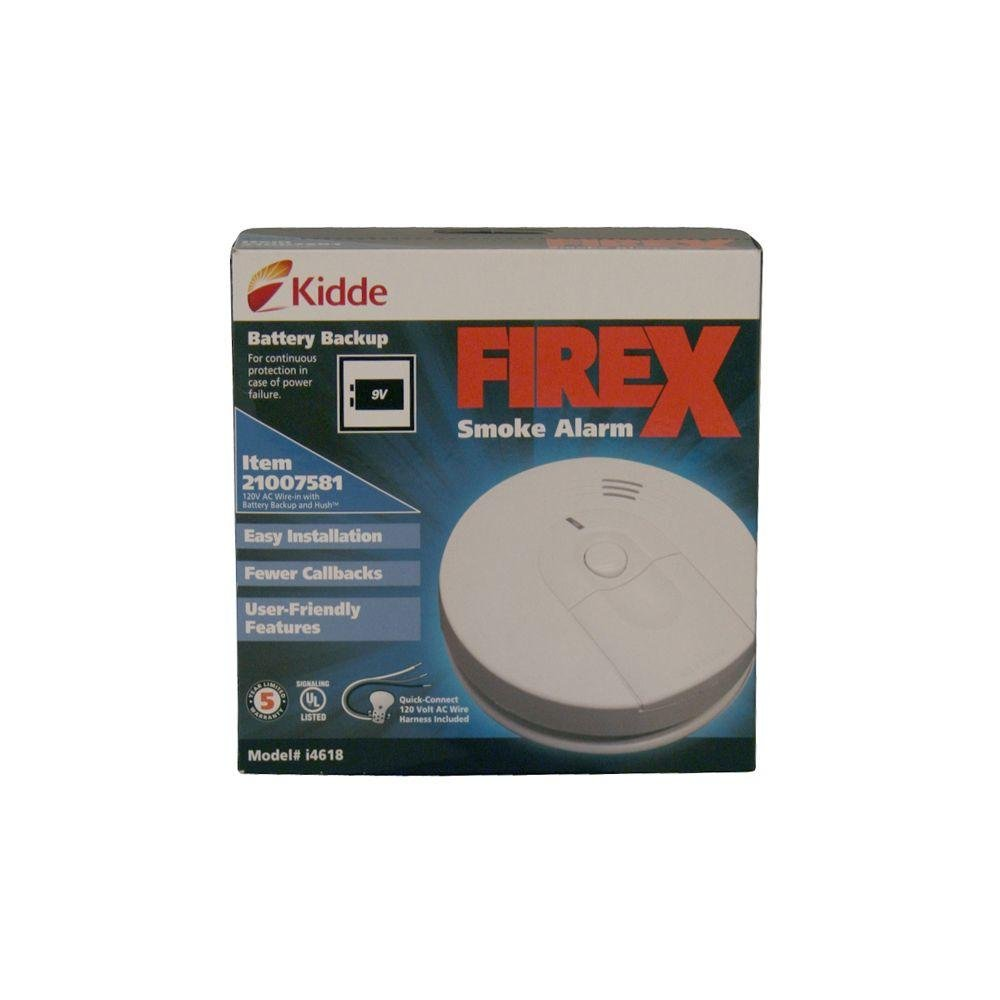 Kidde I4618 Firex Hardwired Smoke Alarm With Battery