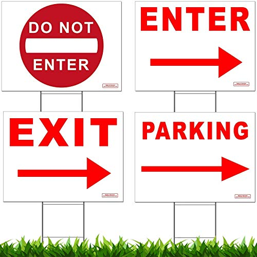 (Traffic Sign Kit with Stands - DO NOT ENTER, PARKING, ENTER and EXIT Arrow Yard Signs Bundle for Traffic Control - Includes Four 24-inch x 18-inch UV 2-Sided Yard Signs + Four 24-inch Tall Wire Stakes )
