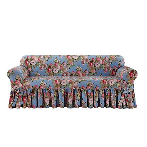 Sure Fit Juliet by Waverly One Piece Box Cushion Sofa Slipcover - Chambray (SF46990)