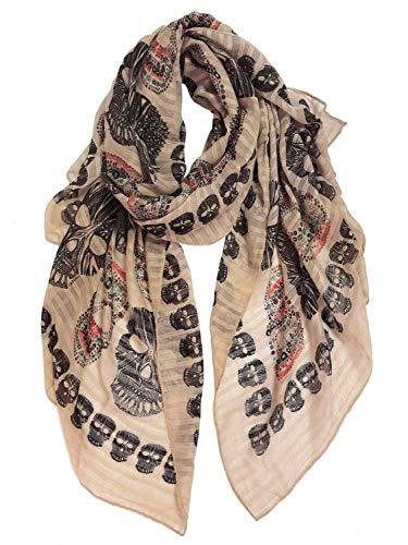 GERINLY Cool Skull Print Scarf Cotton Wrap Shawl Lightweight Cozy Winter Scarves Halloween Scarf Calavera Bufanda (Khaki)