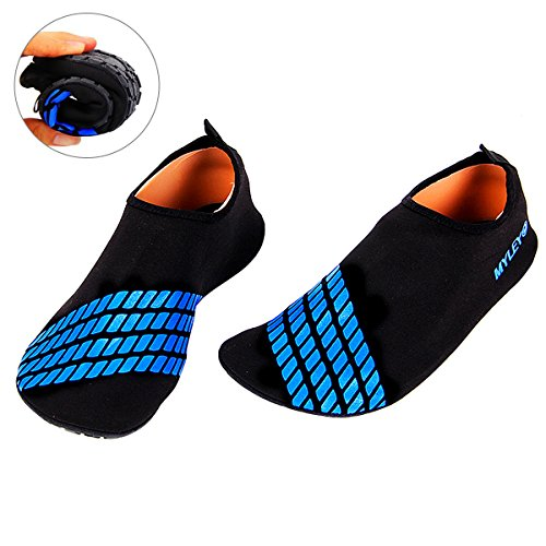 Sasairy Summer Unisex Wading Shoes Swim Women Non-slip Barefoot Water Skin Shoes Stripe Aqua Socks Beach Pool Surfing Water Sports Sock for Outdoor Running Fitness Blue tPzlTpHnLR