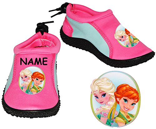 """Aquaschuhe / Bade & Wasserschuhe - Gr. 30 / 31 - """" die Eiskönigin - Disney FROZEN """"- incl. Name - rutschfeste & verstellbare NEOPREN Schuhe Schuh / mit Profilsohle - für Kinder rosa pink - Mädchen / S"""