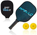 Apollo Pickleball Paddle with 2 Pickleballs | Lightweight Premium Graphite/Carbon Fiber | Meets USAPA Specifications
