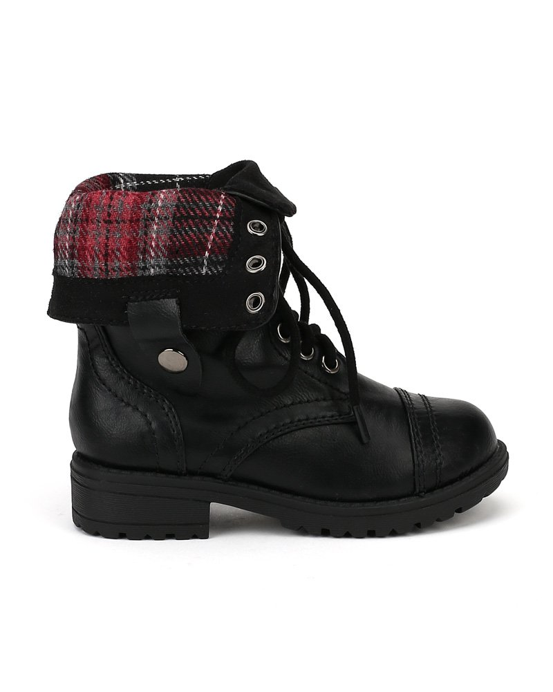 Happy Soda Oralee-2S Leatherette Lace Flannel Fold Cuff Military Boot (Toddler/Little Girl/Big Girl) AF00 - Black (Size: Toddler 10) by Happy Soda (Image #2)